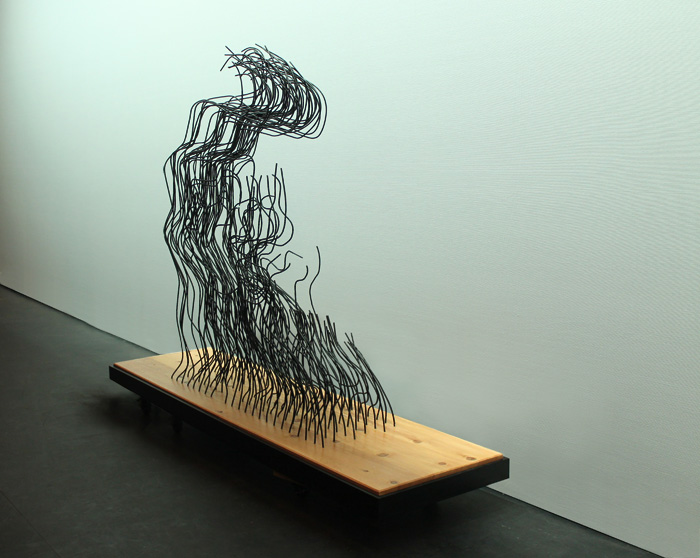 """And Light Fell On Her Face Through Heavy Darkness"" wire sculpture, side view"
